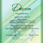 Диплом II степени во Всероссийском конкурсе «Моя малая родина: природа, культура, этнос»